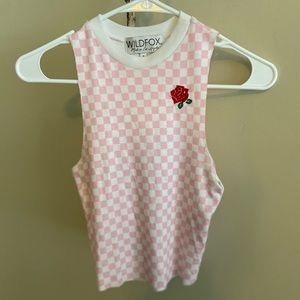 NWOT Wildfox Checkered Embroidered Rose Crop Top S